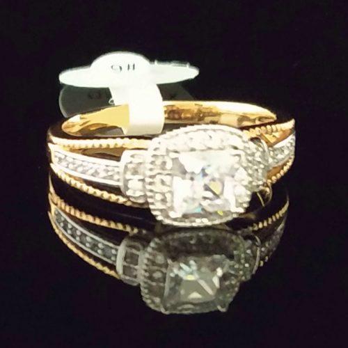 Женское позолоченное кольцо золото 585 пробы с горным хрусталем