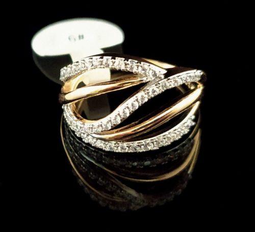 Kольцо позолоченное золото 750 пробы с фианитами