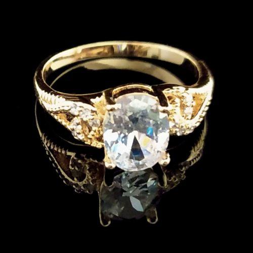 Kольцо позолоченное золото 585 пробы   Горный хрусталь,