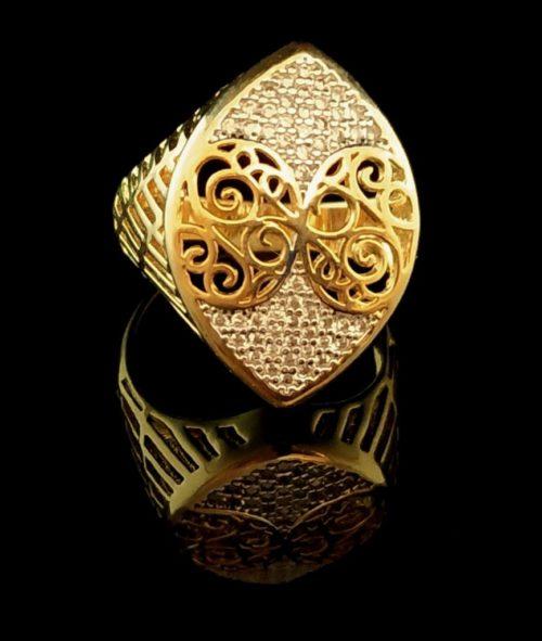 Kольцо позолоченное золото 585 пробы с фианитами