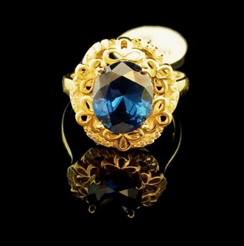 Kольцо позолоченное золото 585 пробы с танзонитом