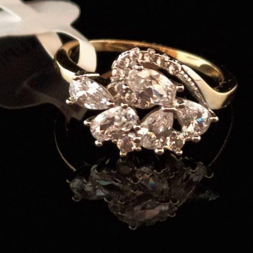 Kольцо позолоченное золото 585 пробы Горный хрусталь