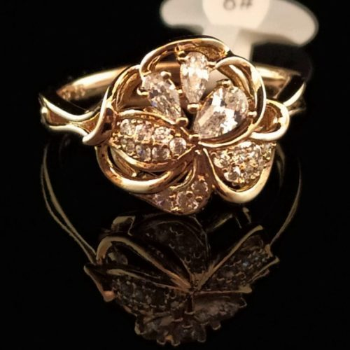 Kольцо позолоченное золото 750 проба Горный хрусталь