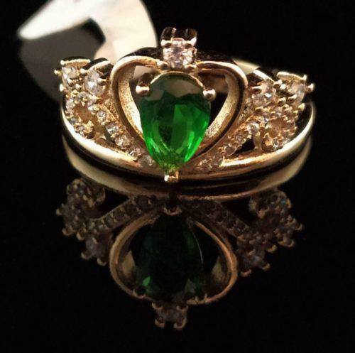 Kольцо позолоченное золото 585 пробы Корона с изумрудом