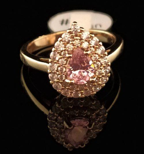 Kольцо позолоченное золото 585 пробы с цирконом Капля