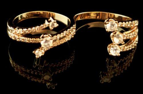 Kольцо позолоченное золото 585 пробы двойное с Фианитом