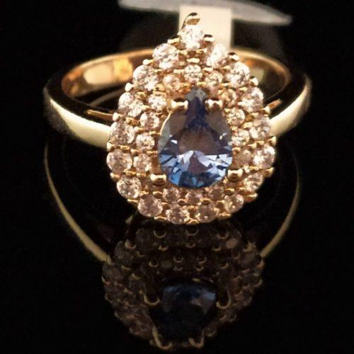 Kольцо позолоченное золото 585 пробы с танзонитом Капля