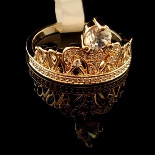 Kольцо позолоченное золото 585 пробы Корона с  Алмазом