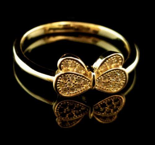 Kольцо Бабочка позолоченное с Фианитом