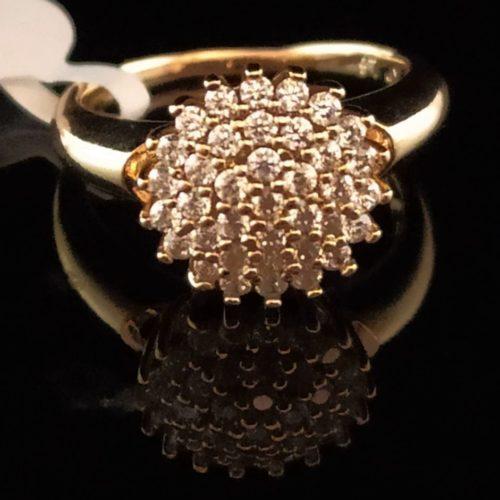 Kольцо позолоченное золото 585 пробы с алмазами