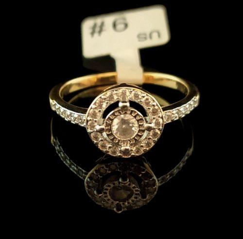 Кольцо позолота с фианитами