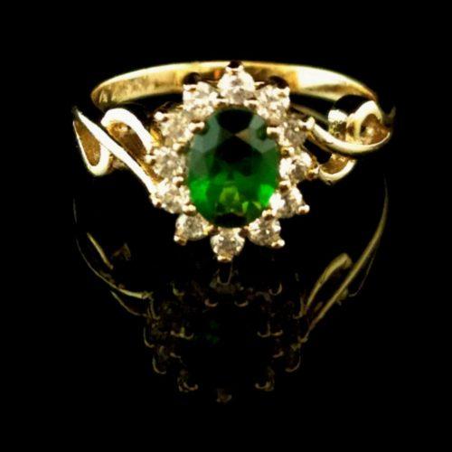Кольцо позолоченное золото 585 пробы с изумрудом