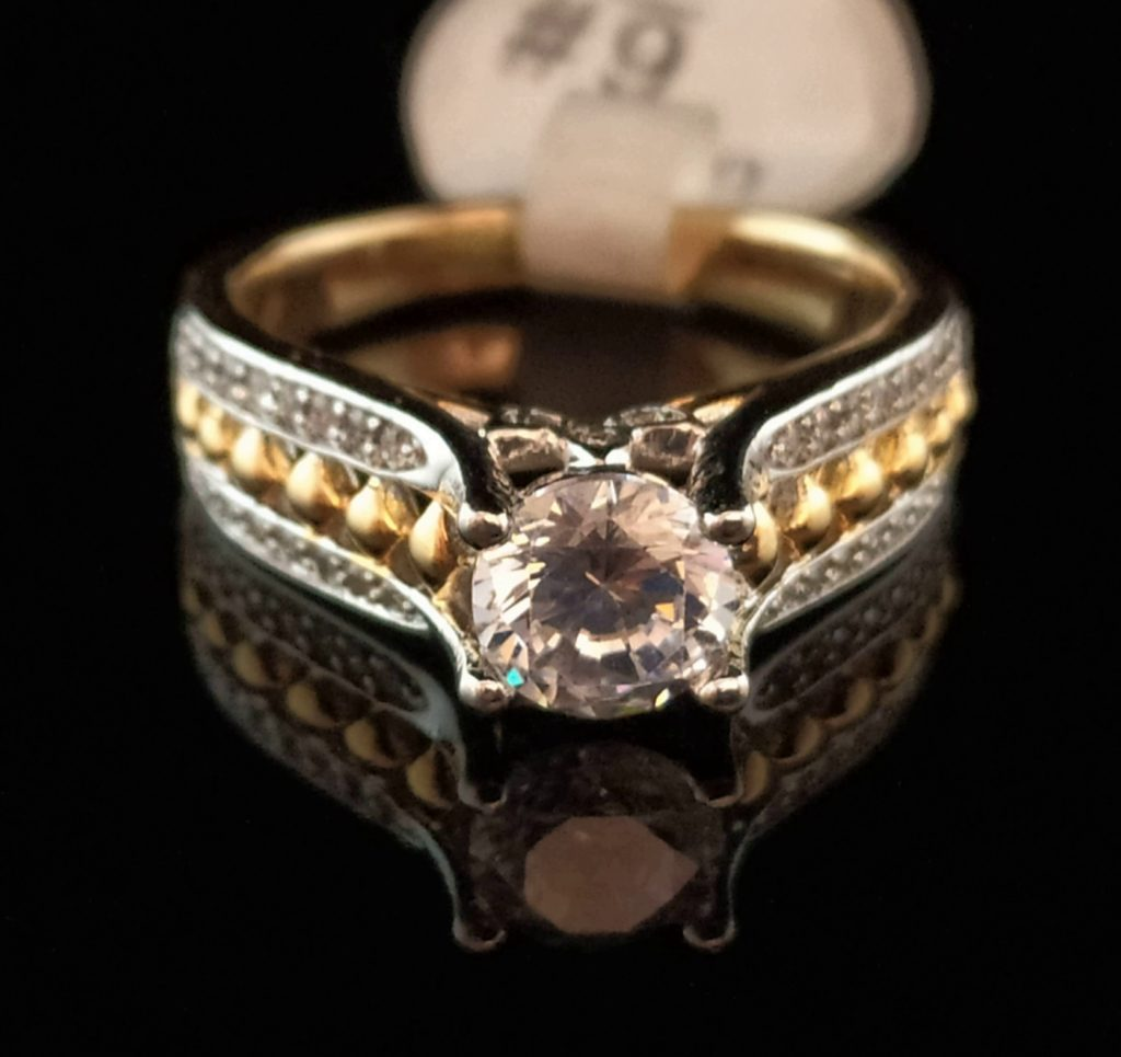 Кольцо позолоченное с цирконом золото 585 пробы