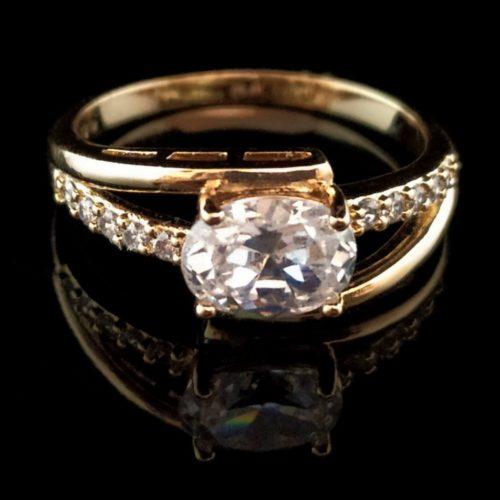 Кольцо позолоченное золото 750 пробы с горным хрусталем