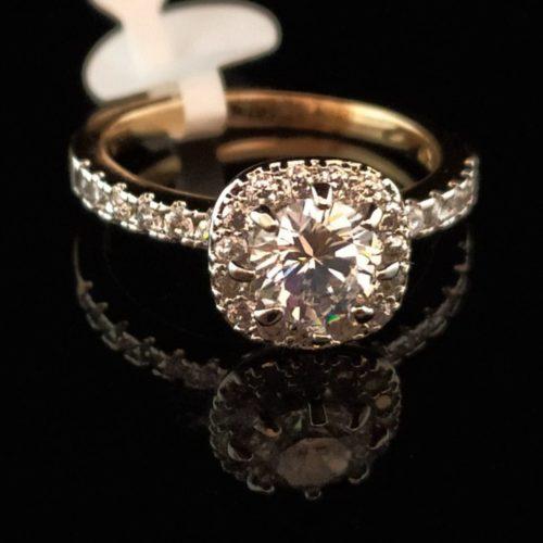 Кольцо позолоченное с горным хрусталем золото 585 пробы