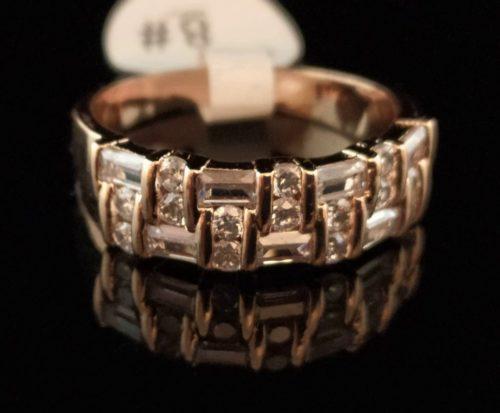 Кольцо позолоченное золото 750 пробы с фианитами