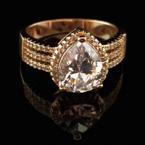 Kольцо позолоченное золото 585 пробы с алмазом