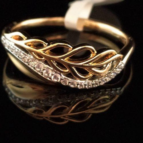 Кольцо позолоченное золото 585 пробы с фианитами