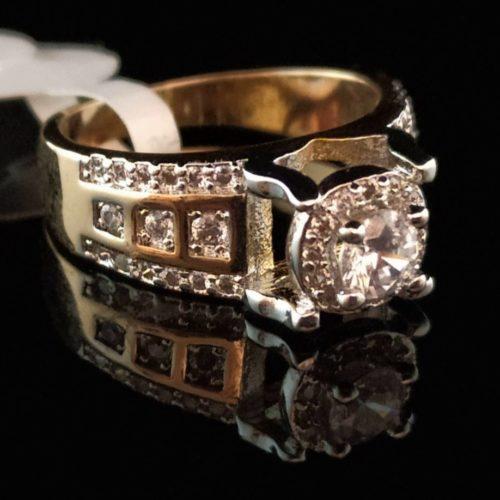 Кольцо позолоченное с цирконом и фианитом золото 585 пробы