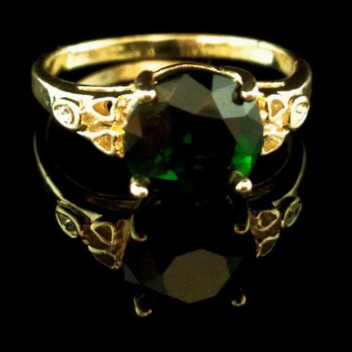 Kольцо позолоченное золото 585 пробы с изумрудом
