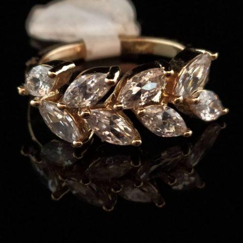 Kольцо позолоченное золото 585 пробы с горным хрусталем