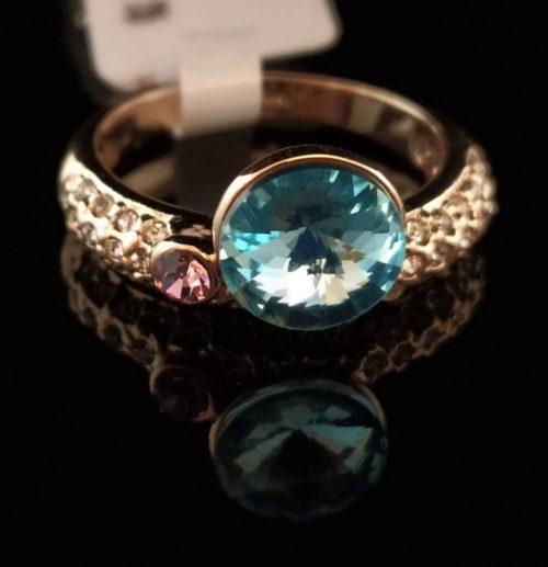 Kольцо позолоченное золото 585 пробы с топазом