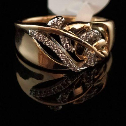 Кольцо позолоченное золото 585 пробы с Фианитом