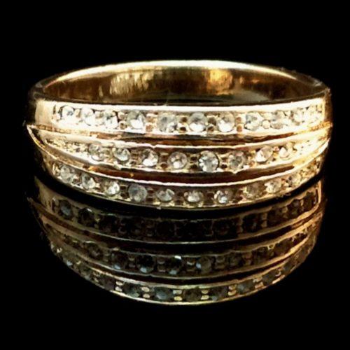 Женское позолоченное кольцо покрытие золото 585 пробы с Фианитом