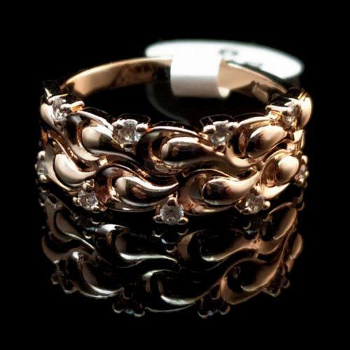 Женское позолоченное кольцо золото 750 пробы с Фианитом