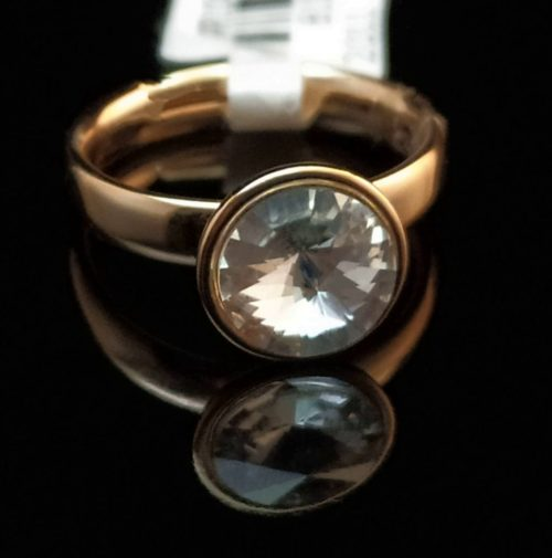 Женское позолоченное кольцо покрытие золото 585 пробы Swarovski