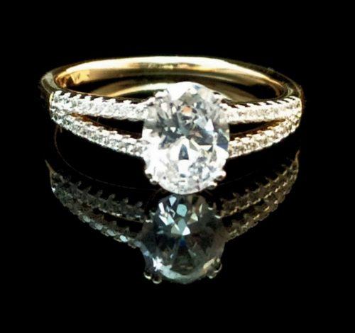 Женское позолоченное кольцо с Цирконом