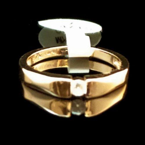 Женское кольцо позолоченное 585 пробы с Фианитом