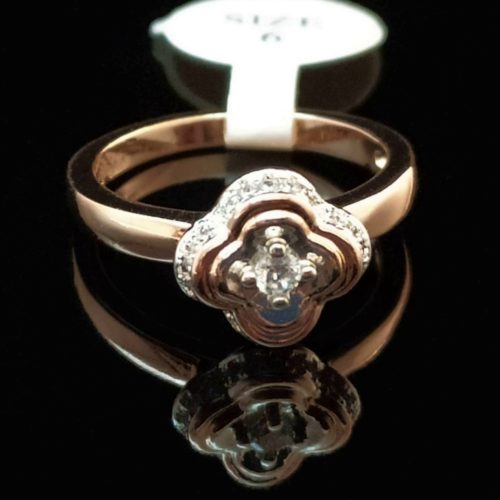 Женское кольцо позолоченное с горным хрусталем