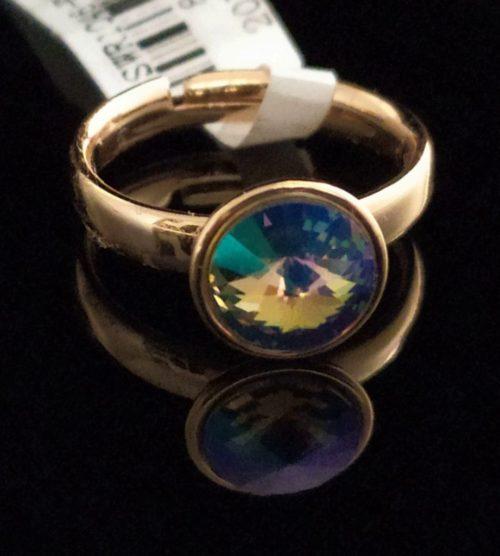 Женское кольцо позолоченное с камнем Swarovski