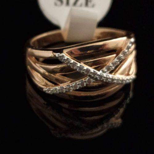 Kольцо позолоченное золото 750 пробы с фианитом