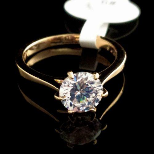 Kольцо позолоченное золото 585 пробы с Фианитом