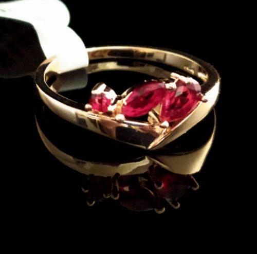 Kольцо позолоченное с рубином