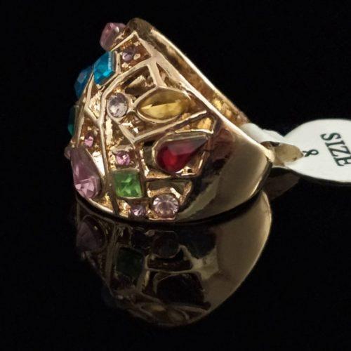 Кольцо позолоченное с камнями