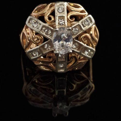 Кольцо позолоченное с горным хрусталем
