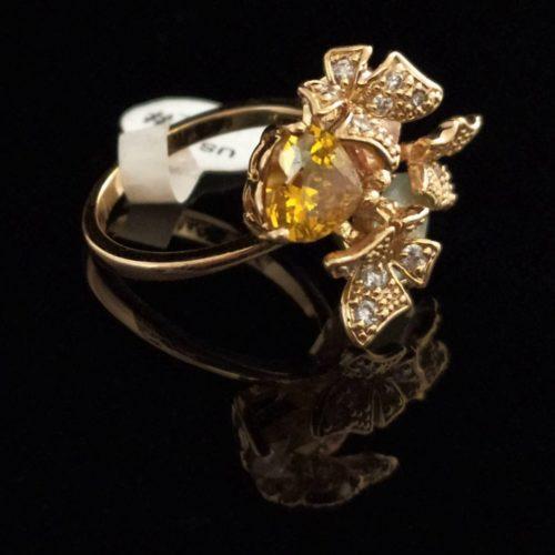 Кольцо позолоченное Бабочки камень Горный хрусталь