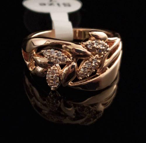 Кольцо позолоченное с цирконами