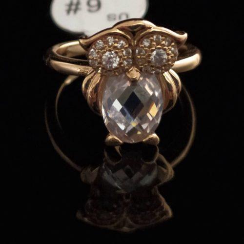 Кольцо позолоченное Совушка с Фианитом