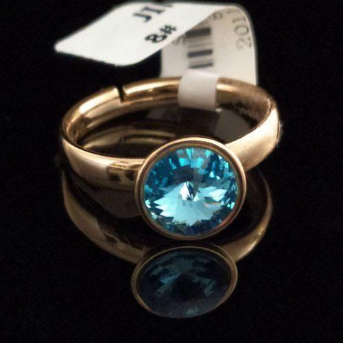 Кольцо позолоченное  с камнем Swarovski