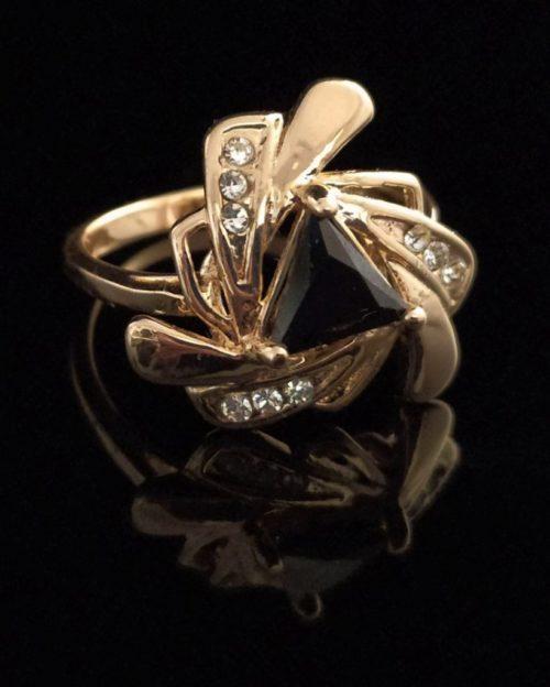 Кольцо позолоченное с агатом