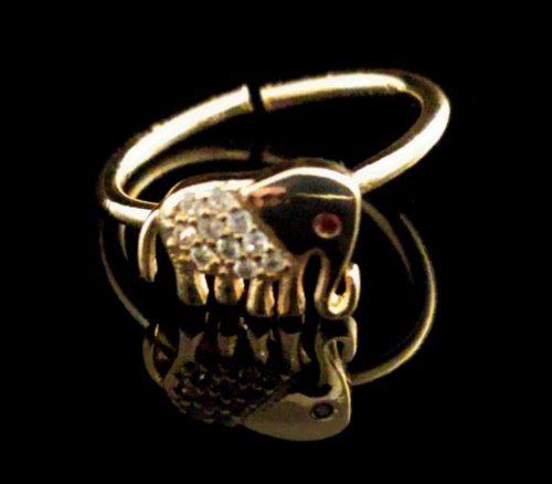 Кольцо позолоченное Слон с Фианитом