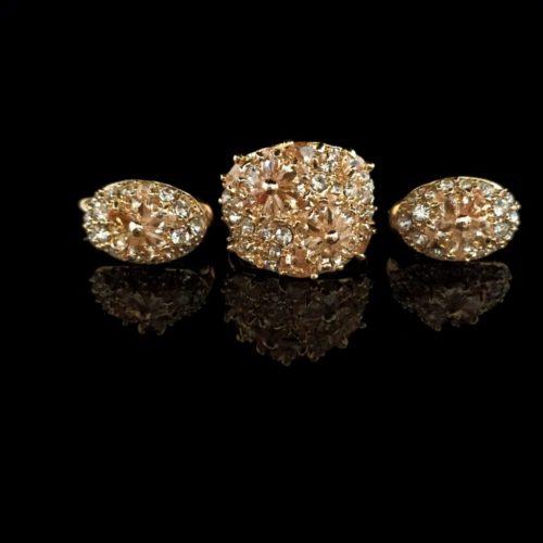 Женский позолоченный комплект с Алмазом и  цирконом