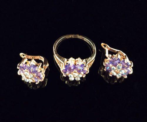 Комплект позолоченный серьги с кольцом с камнем Фианит и Циркон