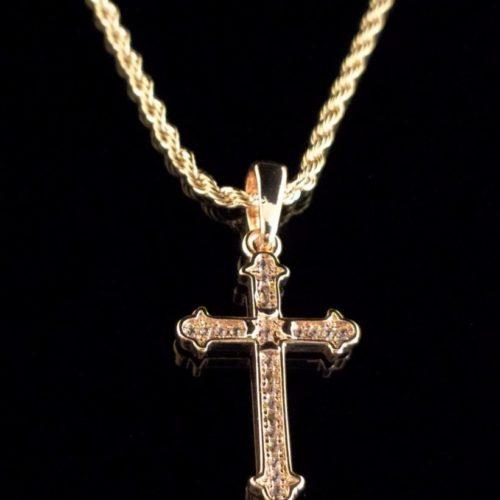 Крестик позолоченный  православный с цепочкой
