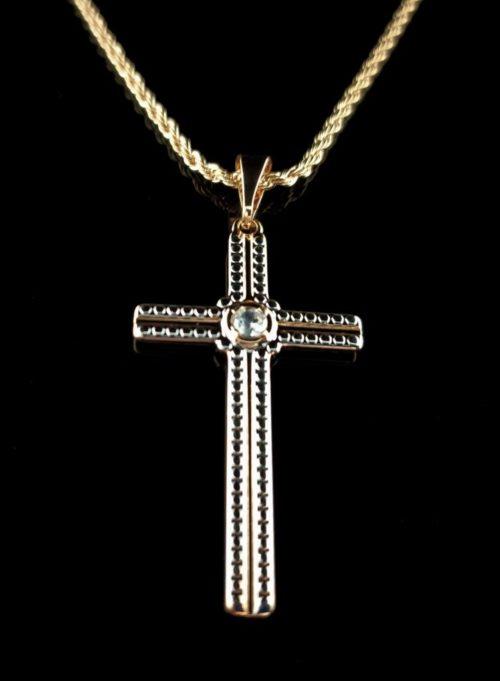 Позолоченный крестик  православный с цепочкой