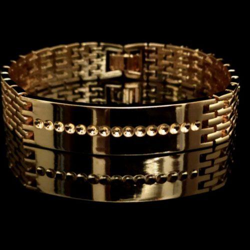 Широкий позолоченный браслет плетения «Бисмарк якорный»